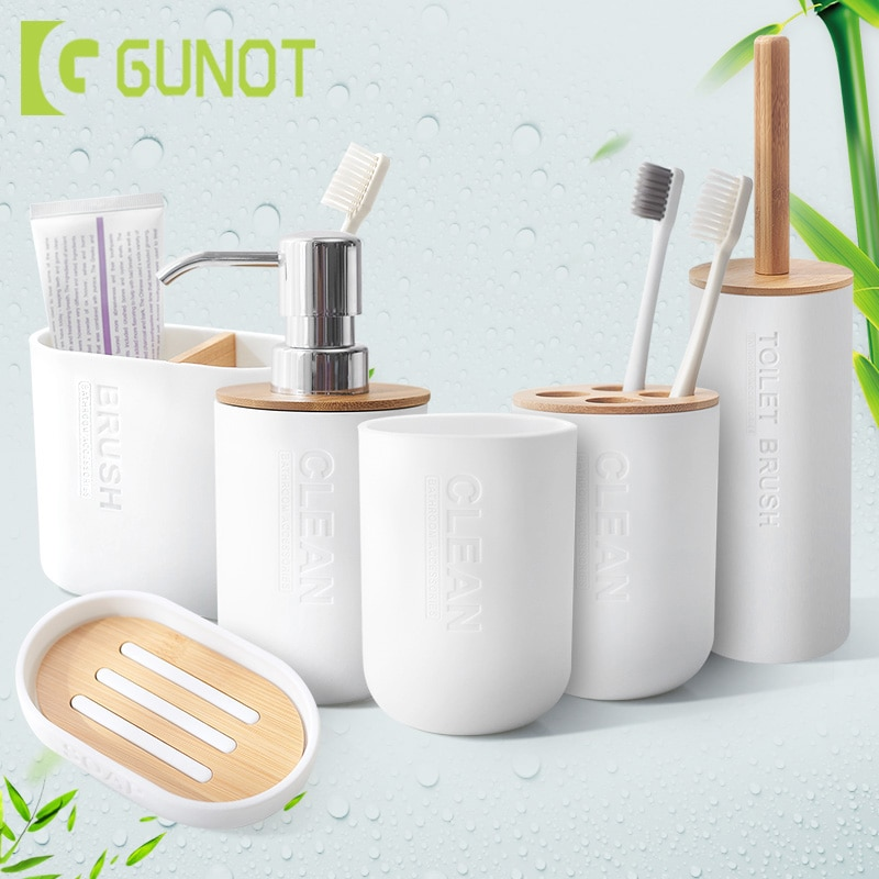 bamboo bathroom accessories soap dispenser/toothbrush holder/tumbler/soap dish - sustainableliving